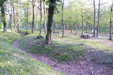Rastplatz im zentralen Schlachtfeld - gut erkennbar der Laufgraben im Vordergrund