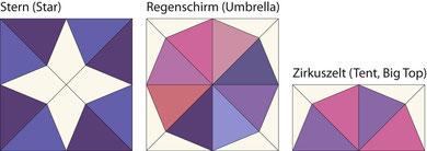 English Paper Piecing Drachen-Stern Star Kite Drachen-Schirme Kite Umbrellas Zirkuszelt Tent Big Top