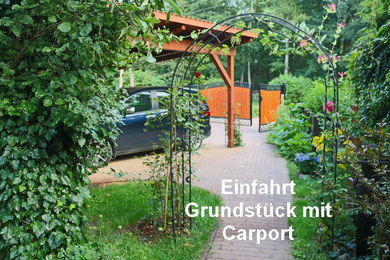 Spreewald Ferienwohnung Wendland Einfahrt mit Carport
