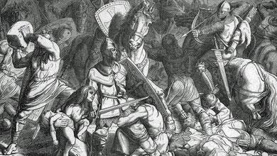 """""""Kreuzzug gegen die Stedinger"""" - Holzstich von ca. 1870 nach einer Zeichnung von Friedrich Hottenroth. ©"""
