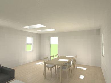 After トップライトを設置しました。テーブルや壁面も明るくなり軽快なイメージになりました。