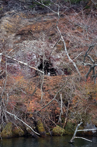 御室の洞窟までハシゴが伸びている