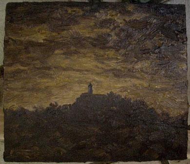 Dämmerung über der Teck, Öl auf Leinwand, 12 x 13,5 cm, verkauft