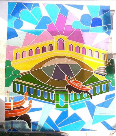 Folien-Mosaik-Fenster im Eiscafe / 80 x 80 cm / 1984