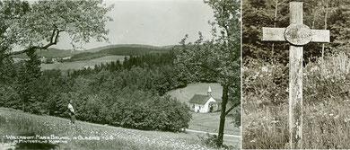 Ansichtkarte und alter Kreuzweg (um 1930)