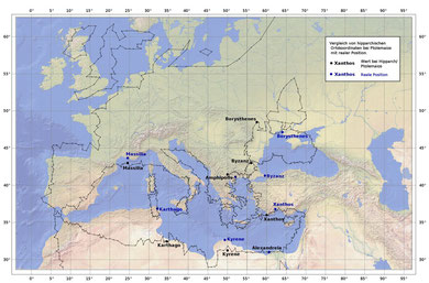 Alles bekannten Ortsangaben von Hipparch stehen im Einklang mit den Daten von Ptolemaios.