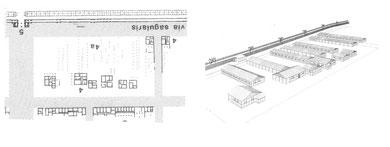 Abb. 2: Kasernenrekonstruktion anhand der Pfostenreihen. (c) LWL