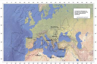 Abb.3: reale und ptolemäische Gradeinteilung im Vergleich