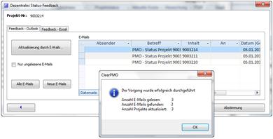 ClearPMO und das Ergebnis des Projekt-Feedback aus Outlook®