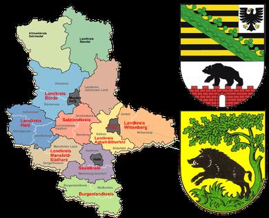Sachsen-Anhalt mit Landkreisen sowie das Wappen (oben), unteres Wappen, Stadt Wörlitz. Grüner Pfeil, Wörlitzer Park!