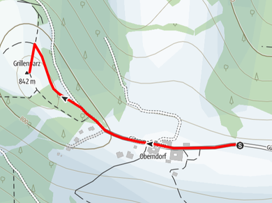 Routenverlauf auf den Grillenparz über Schlierbach