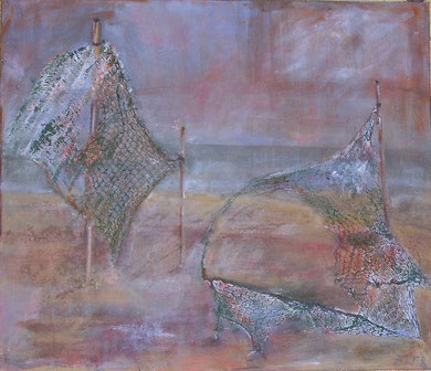 Fishing Nets, 2005 ____ 50x60 acrylic, paper, sand, nets on cotton