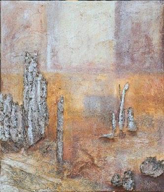 Refugium 4, 2005 _____ 70x60 Acryl, Papier, Sand, Lava, Rinde