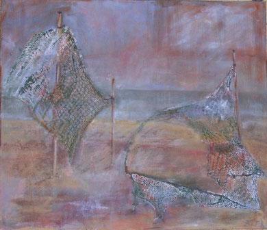 Fischernetz, 2005 _____ 50x60 Acryl, Papier, Sand, Netze auf Baumwolle