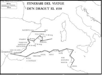 Itinerari del viatge de'n Dradut el 1550