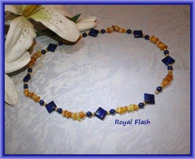 Royal Flash - Bernstein und Lapislazuli Perlen und Diagonale