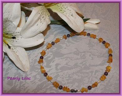 Pearly Lilac - Bernstein mit Amethyst und Süßwasserperlen