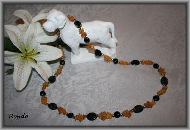 Rondo - Bernstein mit schwarzem Onyx und Jaspis mit silberen Perlen