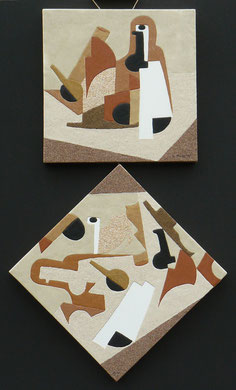Ordres et désordre; 2 fois 40 x 40 cm