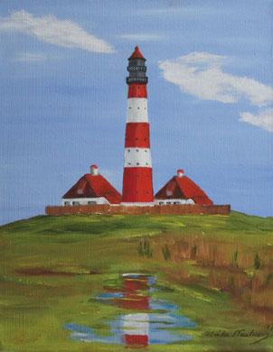 Leuchtturm Westerheversand 30 x 24 cm, Öl auf Leinwand