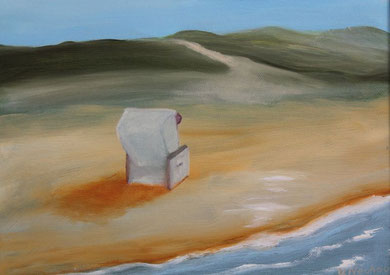 Strandkorb 24 x 30 cm. Öl auf Leinwand