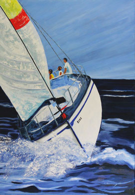 Segelboot, 80 x 100 cm, Öl auf Leinwand