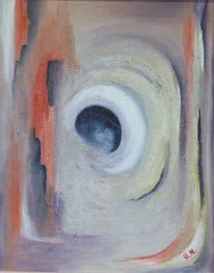 Abstrakt auf Sand, 40 x 50 cm. Öl auf Leinwand