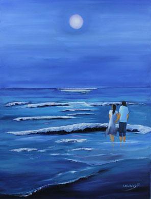 Abendspaziergang am Meer, 60 x 80 cm. Öl auf Leinwand