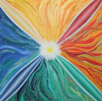 Meditation 120 x 120 cm, Öl auf Leinwand