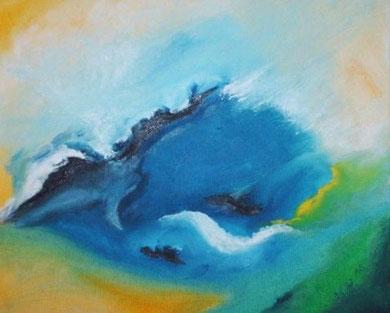 Abstrakt 4, Öl auf Leinwand 24 x 30 cm.