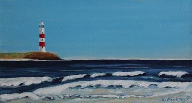 Leuchtturm 20 x 50 cm. Öl auf Leinwand.
