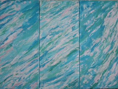 Meeresrauschen, Triptychon,  Acryl auf Sandleinwand.