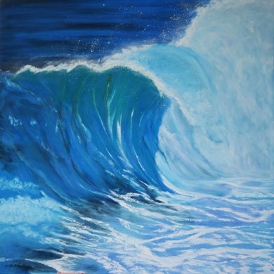 Meereswelle 1, Öl auf Leinwand 100 x 100 cm.