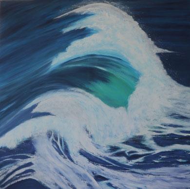 Meereswelle 2, Öl auf Leinwand 100 x 100 cm.