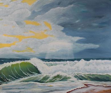 Welle 120 x 100 cm. Öl auf Leinwand