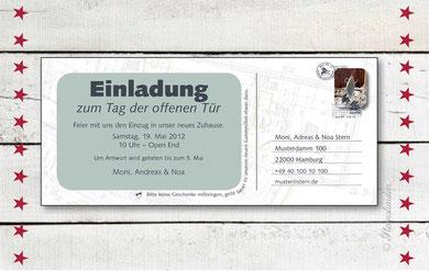 """Umzugskarte """"POSTKARTE""""  Vorderansicht"""