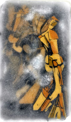 "based on Duchamp's 'nude descending a staircase Nr. 2"",  (2011)  mixed Media in ice,, panel 47 x 28 cm"