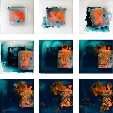 based on Vasarely's 'Kandahar',  (2011)  mixed Media in ice,  (panel 25 x 28 cm) 9 Videostills.