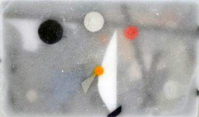 based on Tinguely's 'Méta-Kandinsky', (2011)  mixed Media in ice, panel 47 x 28 cm