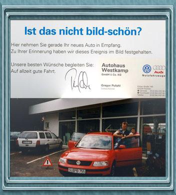 mein erster neuer VW! 40850 DM, 6 Monate Lieferzeit; zum Kauf erhielt ich diese originelle Klappkarte
