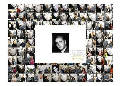 5. Postkarte mit vielen Fans,, in der Mitte Elvis, ein Portraitfoto von Horst Schüssler