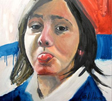 La burla 9. Oleo sobre lienzo. 60x60 cm    © Toño Velasco 2011