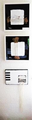 Oben : Handgeschöpft  .Unten : 20x30Materialbild mit geknoteten Schnüren