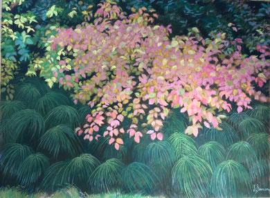 Automne sur les prêles pastel 80x100 Sylvie Berman artiste peintre