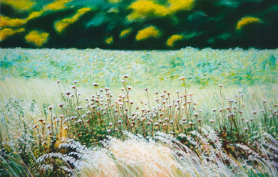 Follavoines chardons, pastel 70x50 Sylvie Berman artiste peintre