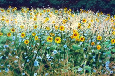 Juillet, pastel (dyptique) 65x110 Sylvie Berman artiste peintre