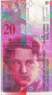 Billete de 20 francos suizos con el rostro de Honegger, 1996.