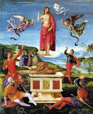 La resurrección de Jesucristo, Rafael Sanzio, entre 1499 y 1502.