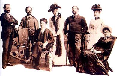 Pietro Mascagni y el elenco del estreno de Cavalleria Rusticana.