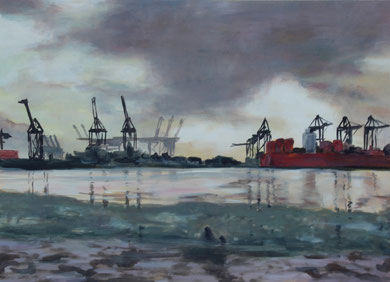 Hamburg, Hafenszene (2015, Acryl/Karton, 48x69)